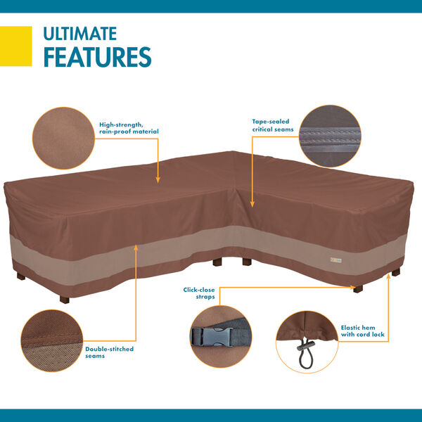 Ultimate Mocha Cappuccino 104-Inch Patio Right-Facing Sectional Lounge Set Cover, image 3