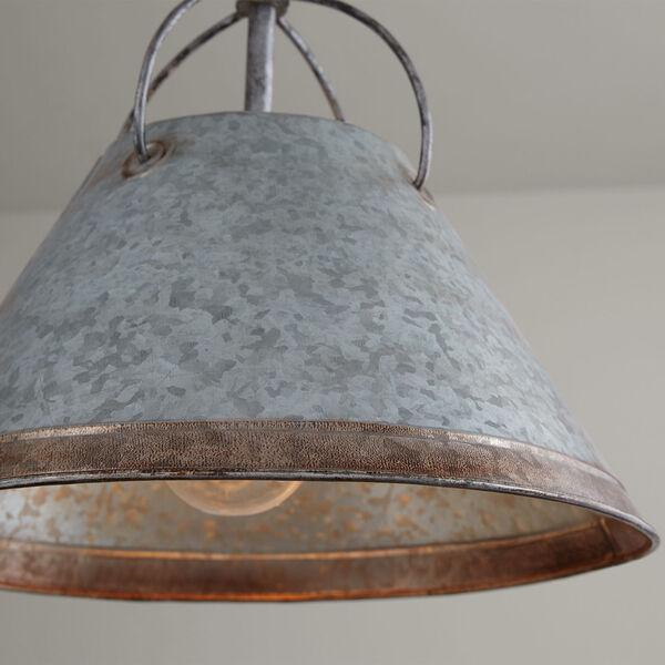 Alvin Antique Galvanized Metal Cone One-Light Pendant, image 4