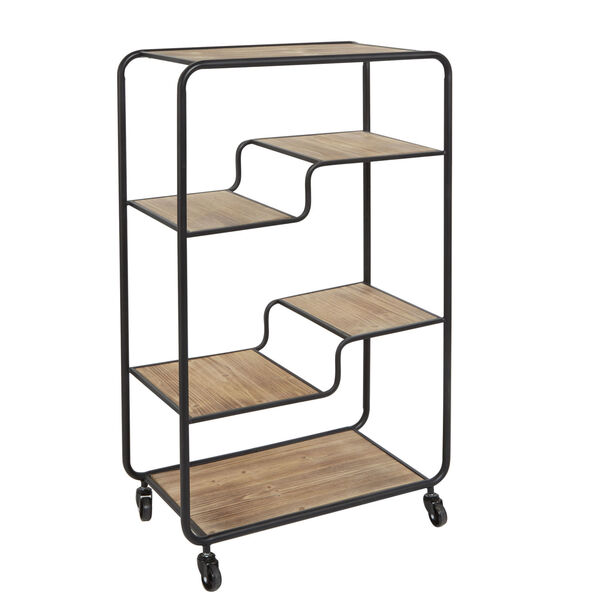 Gunmetal and Light Graphite Wood Multi-tiered Table Cart, image 4