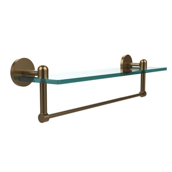 Tango Brushed Bronze 22x5 Glass Shelf w/ Towel Bar, image 1