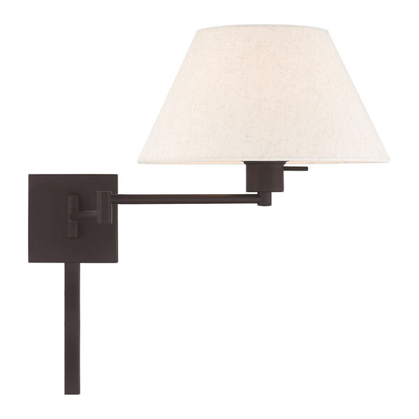 Swing Arm Wall Lamps Bronze 13-Inch One-Light Swing Arm Wall Lamp with Hand Crafted Oatmeal Hardback Shade, image 5