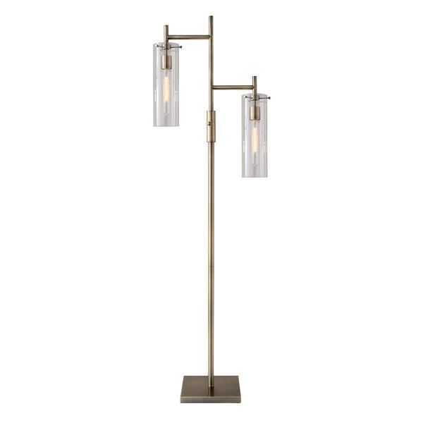 Dalton Antique Brass Two-Light Floor Lamp, image 1