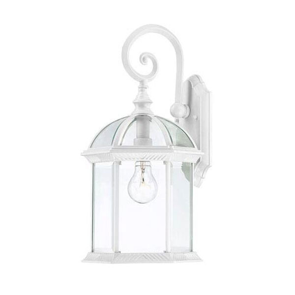 Boxwood White Finish One Light Outdoor Wall Sconce with Clear Beveled Glass, image 1