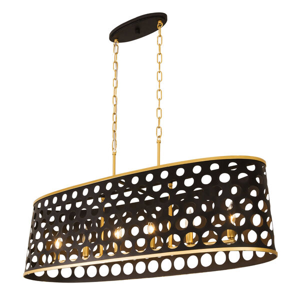 Bailey Matte Black French Gold 44-Inch Six-Light Pendant, image 1
