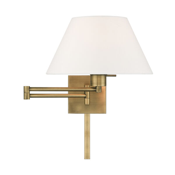 Swing Arm Wall Lamps Antique Brass 13-Inch One-Light Swing Arm Wall Lamp with Hand Crafted Off-White Hardback Shade, image 3