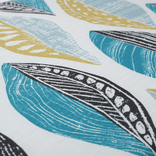 Leaf Block Teal and Citron 52-Inch Tufted Bench Cushion, image 4