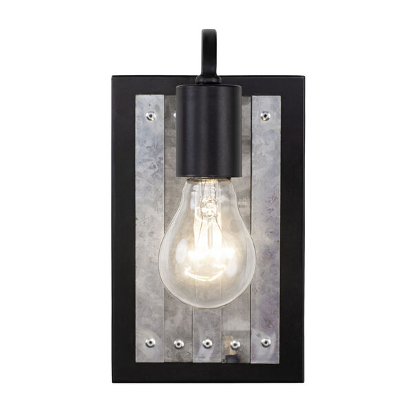 Abbey Rose Black and Galvanized One-Light Sconce, image 1