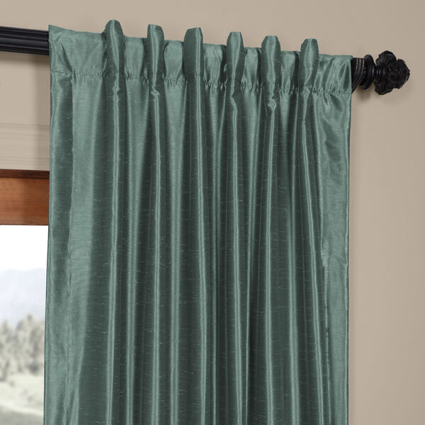 Teal 84 x 50 In. Faux Dupioni Silk Single Panel Curtain, image 4