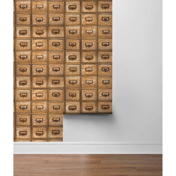 NextWall Library Card Catalog Peel and Stick Wallpaper, image 5