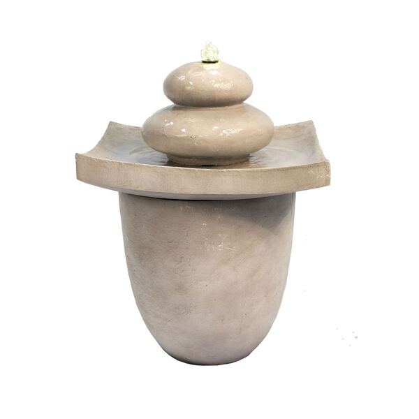 Light Grey Outdoor Zen Stones Two - Tier Fountain with LED Light, image 5