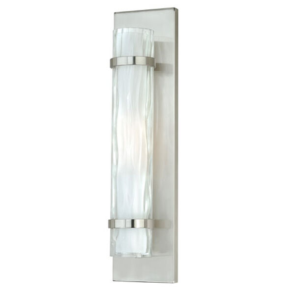 Vilo Satin Nickel 18.5-Inch High One-Light Wall Sconce with Outer Water Glass, image 1