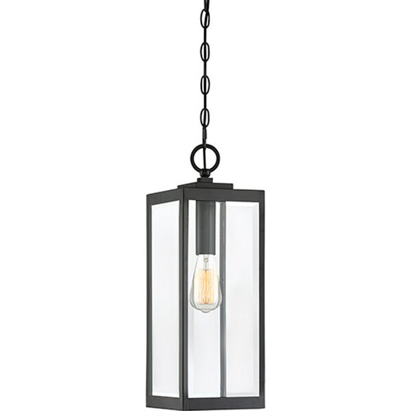 Pax Black One-Light Outdoor Pendant with Beveled Glass, image 1