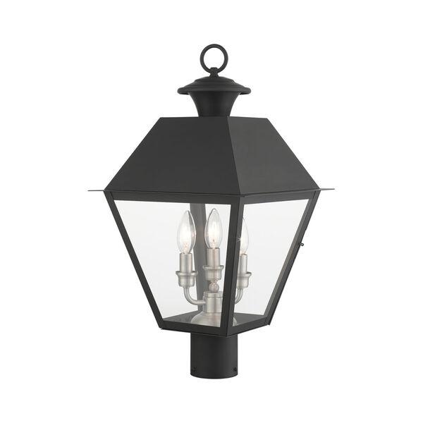 Mansfield Black Three-Light Outdoor Post Lantern, image 4