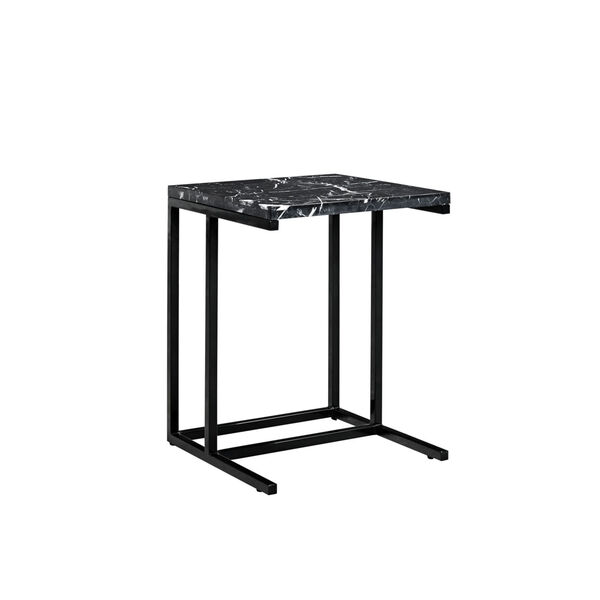 Julien Black Base Chairside Table with Black Marble Top, image 1