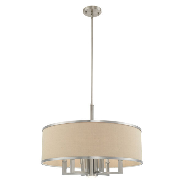 Park Ridge Brushed Nickel 24-Inch Seven-Light Pendant Chandelier with Hand Crafted Ash-Gray Linen Hardback Shade, image 4