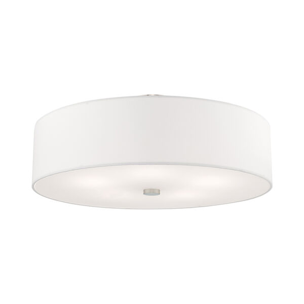 Meridian Brushed Nickel 22-Inch Five-Light Ceiling Mount with Hand Crafted Off-White Hardback Shade, image 3