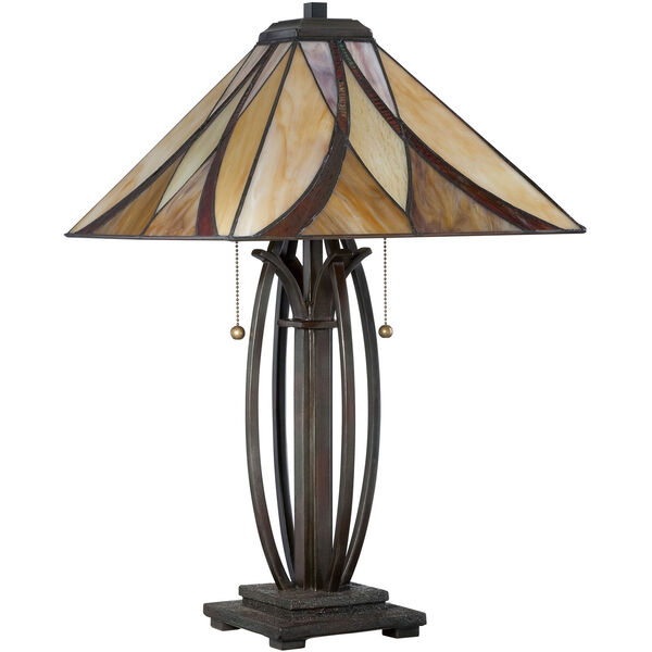 Wellington Bronze Two-Light Table Lamp with Tiffany Glass, image 2