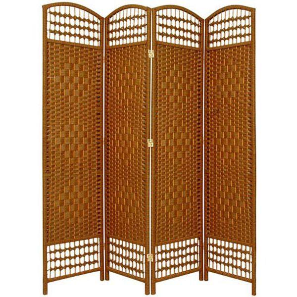 5 1/2 Ft. Tall Fiber Weave Room Divider Dark Beige Four Panel, Width - 15.5 Inches, image 1