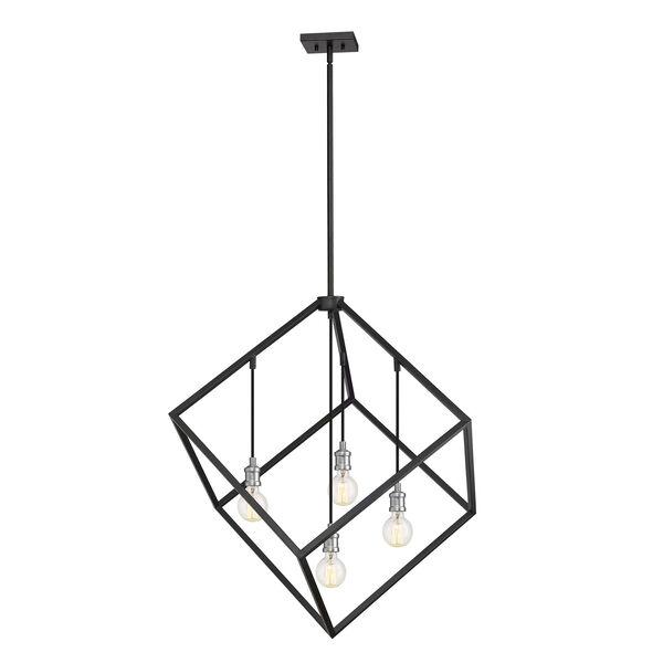 Vertical Matte Black and Brushed Nickel 34-Inch Four-Light Pendant, image 5
