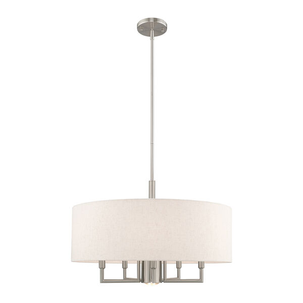 Meridian Brushed Nickel 24-Inch Six-Light Pendant Chandelier with Hand Crafted Oatmeal Hardback Shade, image 5