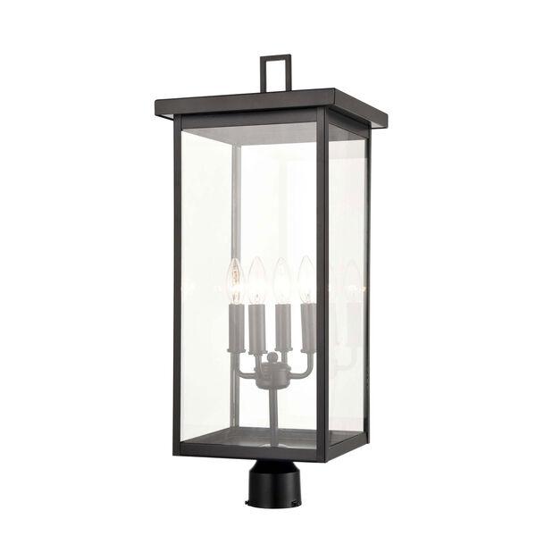 Barkeley Powder Coat Black Four-Light Outdoor Post Lantern With Transparent Glass, image 1