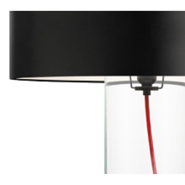 Level Clear Glass One-Light Table Lamp with Black Shade, image 3