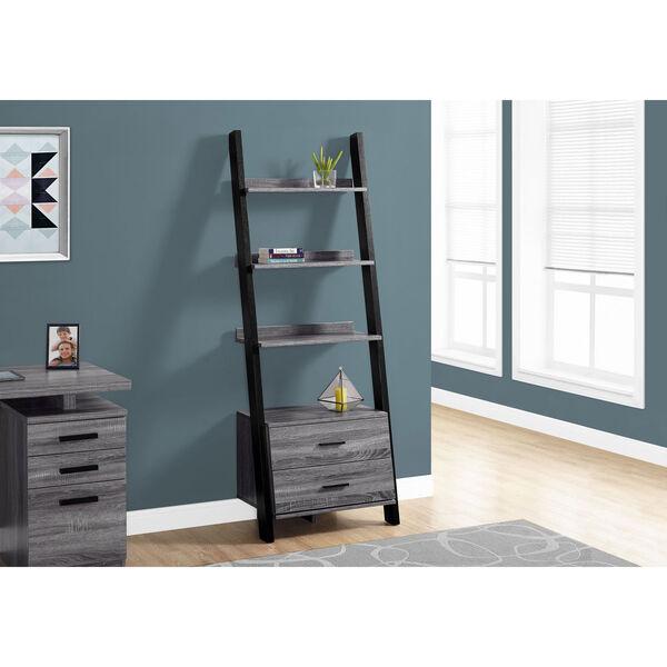 Grey-Black Ladder Bookcase with 2 Storage Drawer, image 1