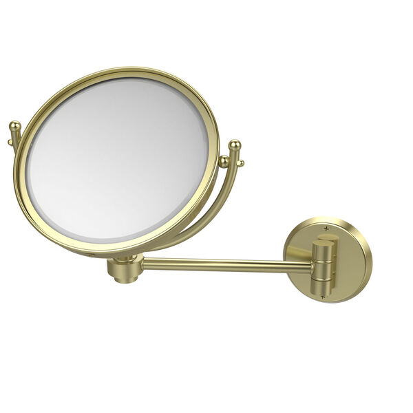 Satin Brass Eight-Inch Wall Mounted Make-Up Mirror 2X Magnification, image 1