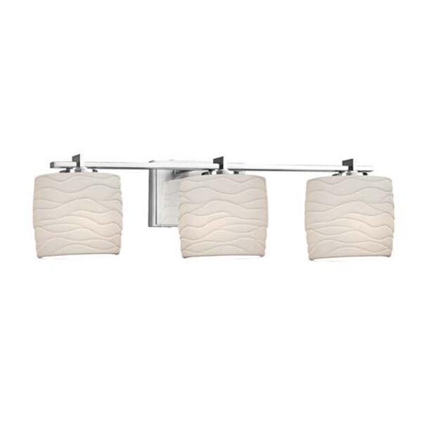 Limoges - Era Matte Black Three-Light Bath Bar with Oval Waves Shade, image 1