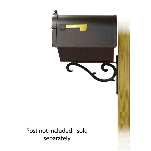 Curbside Black Mailbox with Front Address Numbers and Sorrento Front Single Mailbox Bracket, image 3