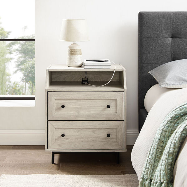 Birch Curved Open Top Two Drawer Nightstand with USB, image 1