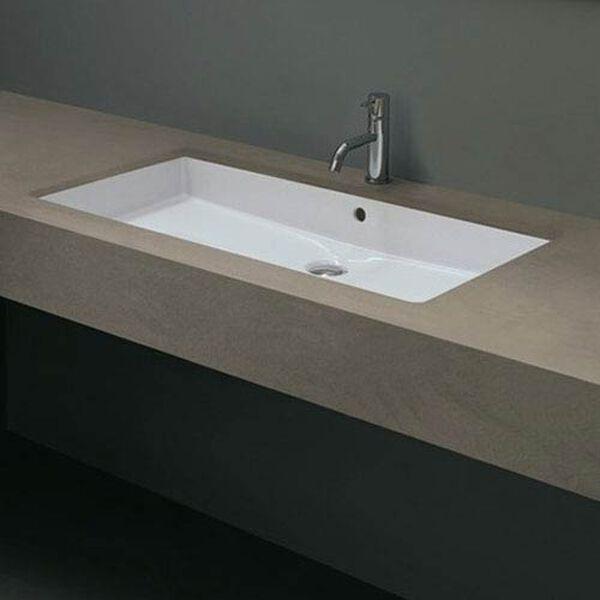 Ceramica Valdama White Bathroom Under-Mounted Sink, image 1