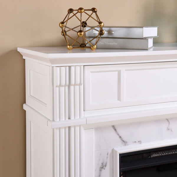 Highgate White Faux Cararra Marble Electric Media Fireplace, image 3