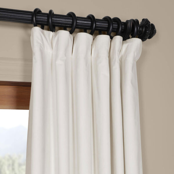 Porcelain White Blackout Velvet Pole Pocket Single Panel Curtain, 50 X 96, image 2