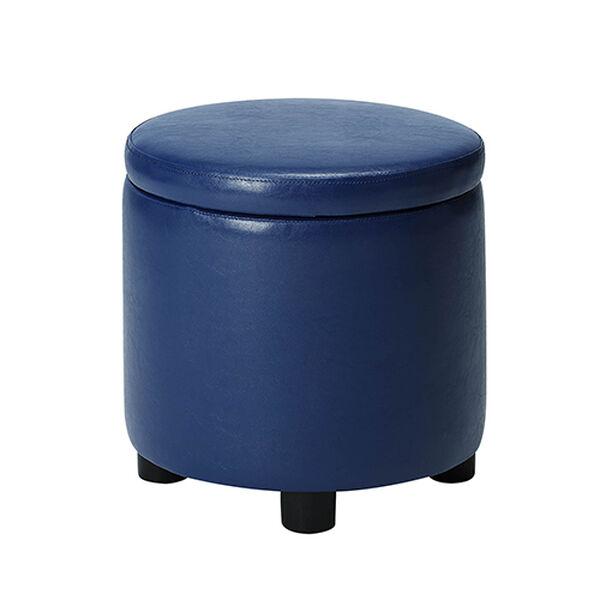 Designs4Comfort Blue Round Accent Storage Ottoman, image 4