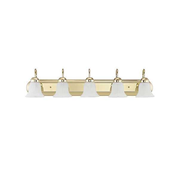 Home Basics Polished Brass Five-Light Bath Light, image 2