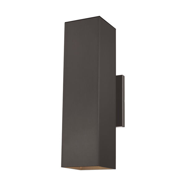 Pohl Bronze Two-Light Outdoor Large Wall Sconce with Tempered Glass Shade, image 1