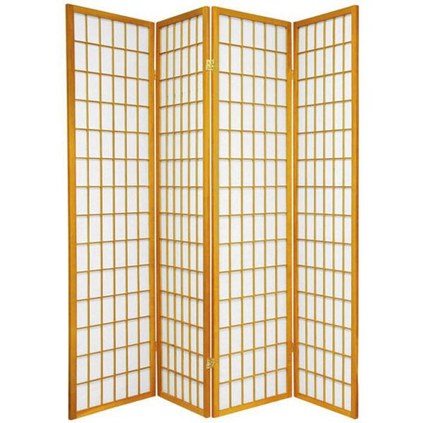 Window Pane Shoji Screen - Four Panel Honey, Width - 68 Inches, image 1
