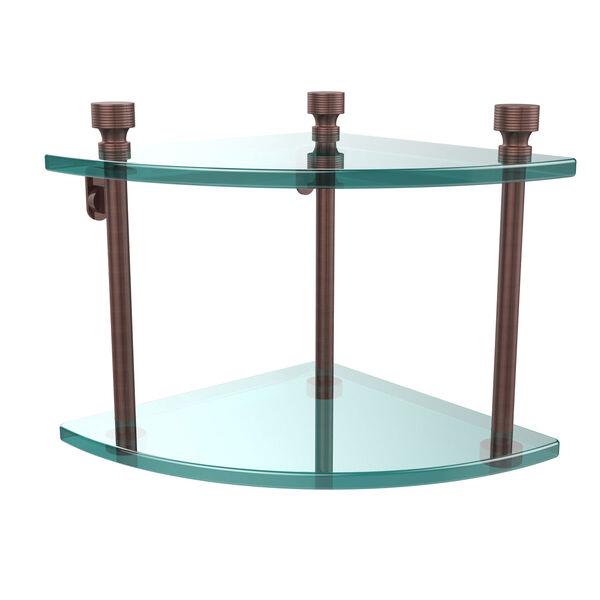 Foxtrot Collection Two Tier Corner Glass Shelf, Antique Copper, image 1