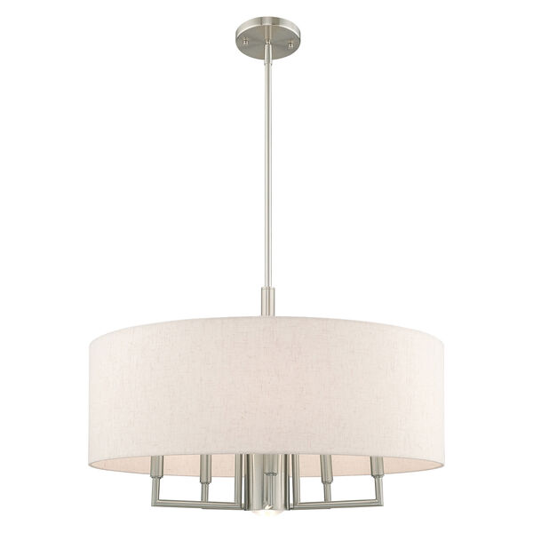 Meridian Brushed Nickel 24-Inch Six-Light Pendant Chandelier with Hand Crafted Oatmeal Hardback Shade, image 3