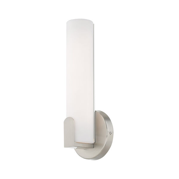 Lund Brushed Nickel 4-Inch ADA Wall Sconce with Satin White Acrylic Shade, image 4