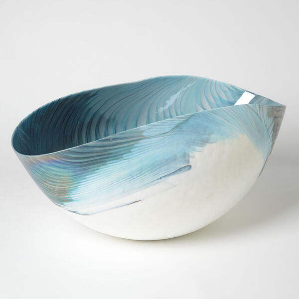 Ivory and Turquoise 16-Inch Feather Swirl Oval Bowl, image 2