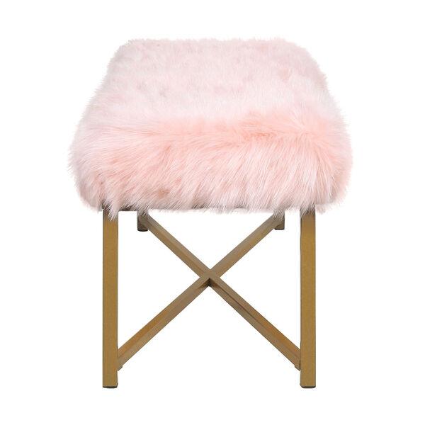 Faux Fur Rectangle Bench - Pink, image 3