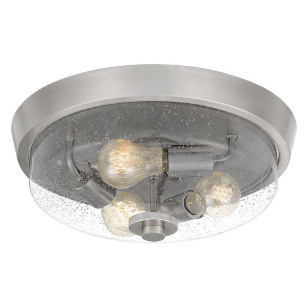 Radius Brushed Nickel 15-Inch Three-Light Flush Mount with Clear Seeded Glass, image 3