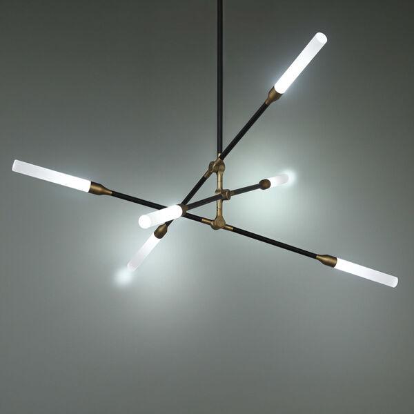 Houdini Black Aged Brass Six-Light LED Chandelier, image 4