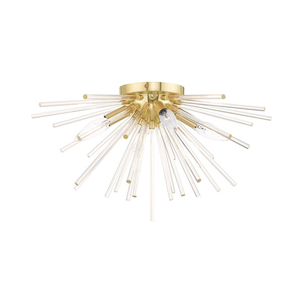 Utopia Satin Brass 20-Inch Four-Light Ceiling Mount with Clear Crystal Rods, image 1