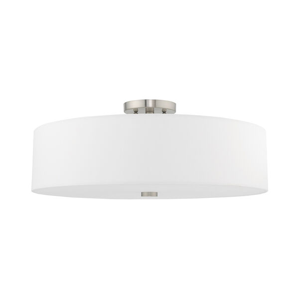 Meridian Brushed Nickel 22-Inch Five-Light Ceiling Mount with Hand Crafted Off-White Hardback Shade, image 2