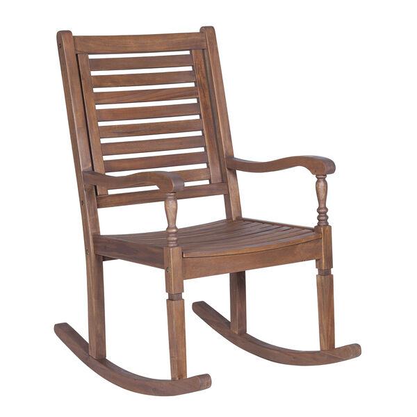 Solid Acacia Wood Rocking Patio Chair, Dark Brown, image 2