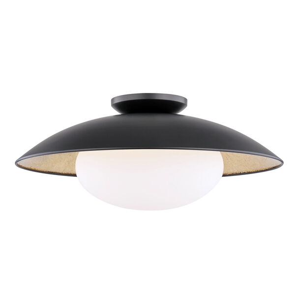 Cadence Black and Gold 21-Inch One-Light Semi-Flush Mount, image 1