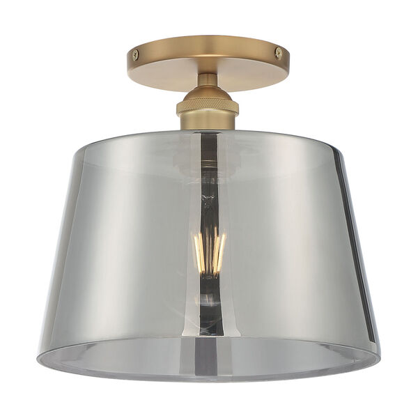 Motif Brushed Brass and Smoked Glass 10-Inch One-Light Semi-Flush Mount, image 4